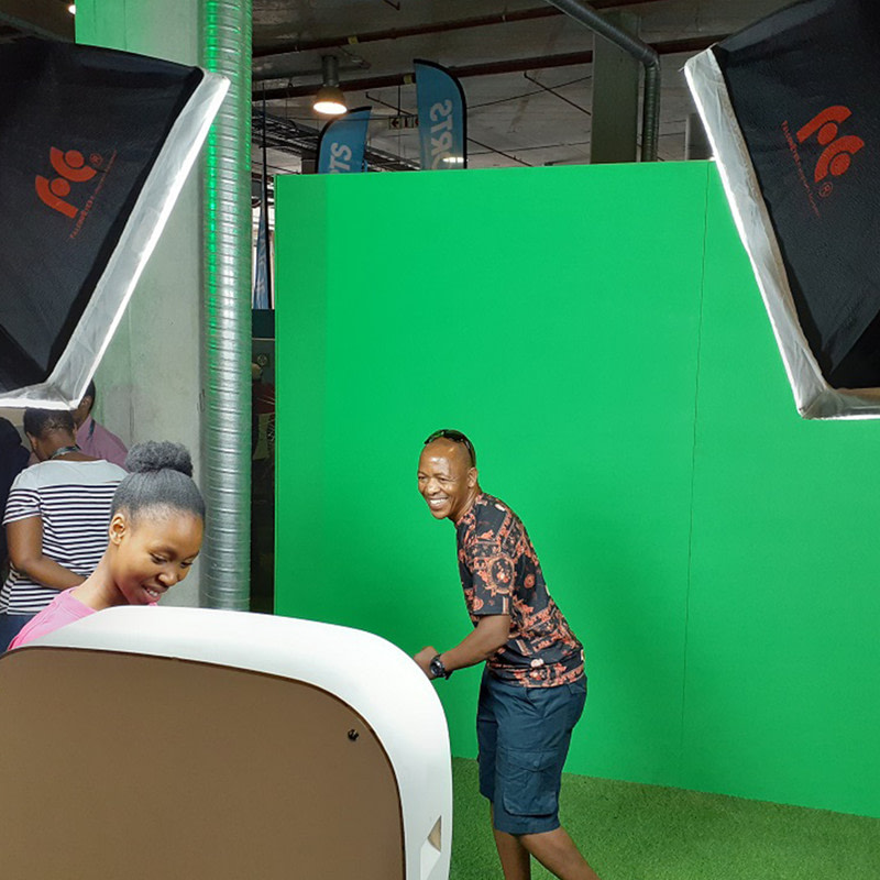 Green screen photo booth pose.